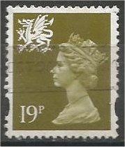 GREAT BRITAIN, WALES, Machins, 1993, used 19p olive green, Scott WMMH58