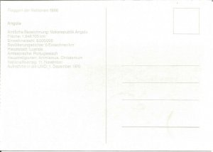 United Nations German Postcard Nations Flags 1986 Angola Stamp Postmarked U2547