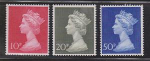 GREAT BRITAIN - Scott # MH 165-7 Mint Never Hinged  - QEII Machin Heads