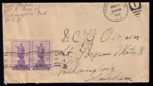 US Scott #799 Vert.Pair Postal History Cover Cancellation Dec.23,1937