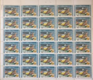 US Scott #RW40 1973 $5 Steller's Eiders Mint NH, OG SHEET OF 30  Cat $680