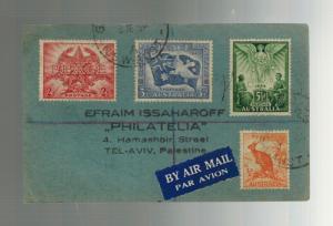 1946 Sydney Australia Tel Aviv Palestine Registered Airmail Multi Franking Cover