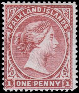 Falkland Islands Scott 7 (1886) Mint H F-VF, CV $95.00 B