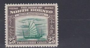 NORTH BORNEO  1939  S G 313   25C   GREEN & CHOCOLATE    MH  CAT £45