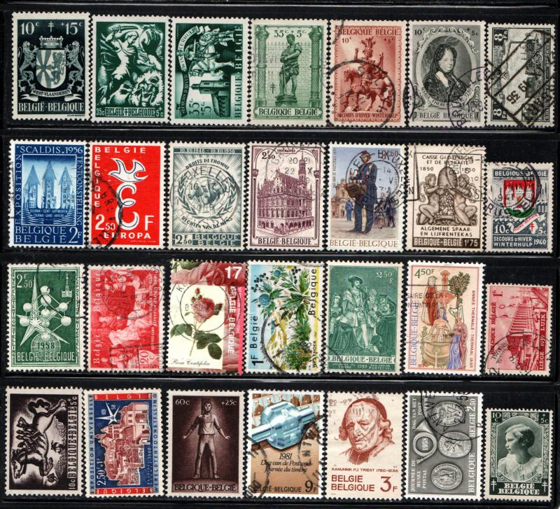 Belgium - Lot of 28 Different Stamps @ 3c ea ~ Mint, Used, MX ~ cv. 6.00