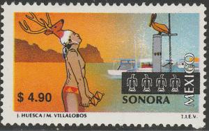 MEXICO 2130, $4.90 Tourism Sonora, deer dance, pelican. Mint, Never Hinged F-VF.