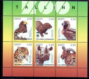 Estonia 1997 Sc 319 Animals Birds Eagle Vulture Leopard Rhino Mink CV $3.50