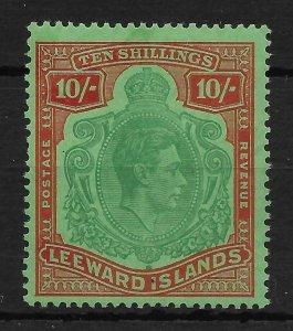 LEEWARD ISLANDS SG113ca 1947 10/= DP.GREEN&DP.VERMILION/GREEN MISSING PEARL MNH