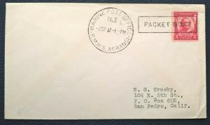 New Zealand 1932 MARINE POST OFFICE RMMS AORANGI PACKET BOAT Cover to San Pedro