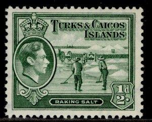 TURKS & CAICOS ISLANDS GVI SG195, ½d deep green, M MINT.