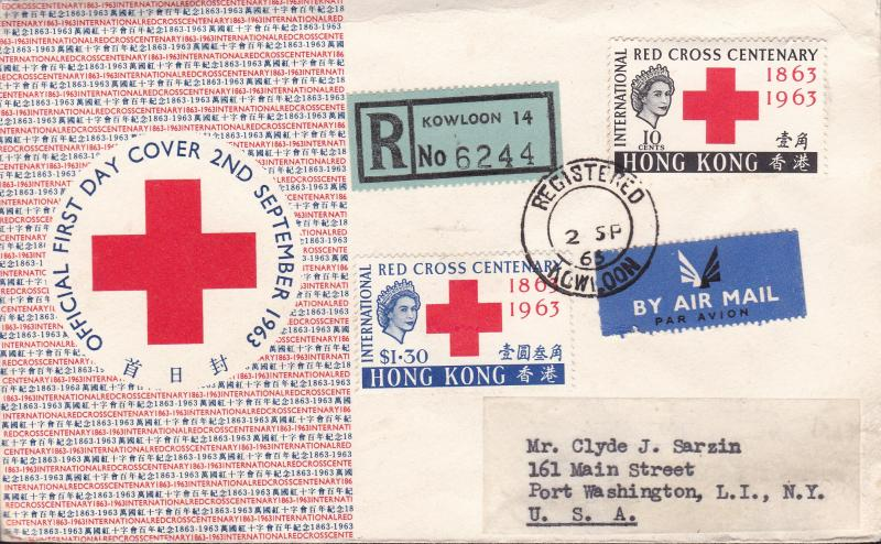 Hong Kong 1963 Red Cross Centenary First Day Cover Registered Air Mail