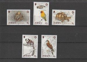 Jersey  Scott#  456-460  MNH  (1988 Wildlife Preservation Trust)