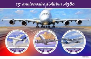 NIGER - 2020 - Airbus A380 - Perf 3v Sheet - Mint Never Hinged