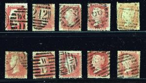 UK STAMPS British 1C VICTORIA USED STAMPS COLLECTION LOT