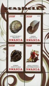 Rwanda  Seashell Marine Life Ocean Fauna Souvenir Sheet of 4 Stamps Mint NH
