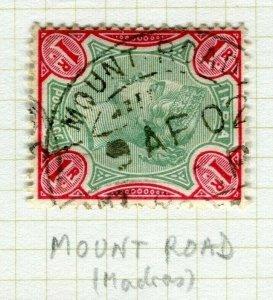 INDIA; POSTMARK fine used cancel on QV issue, Mount Road Madras