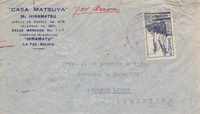 Bolivia to Buenos Aires, Argentina, Airmail, 1940, See Remark (21560)