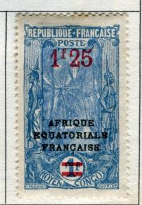 FRENCH COLONIES CONGO;  1924 surcharged EQUATORIALE Optd. Mint hinged 1.25Fr