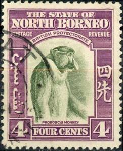 North Borneo #196 4c Proboscus Monkey Used/H