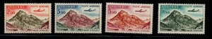 Andorra (Fr) Sc C5-8 1961 Airplane over Mountain airmail stamp set mint NH
