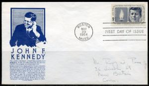 1964 JOHN F. KENNEDY S. ANDERSON BLUE CACHET FDC AS SHOWN