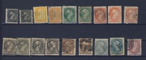 18x Canada Small Queen Stamps Many Shades Fine or Better Guide Value = $175.00