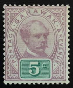 Malaya 1891 Sarawak Sir Charles Brooke 5c MLH SG#12 CV £42 M1684