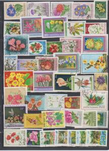 LOT OF DIFFERENT STAMPS OF FLOWERS  USED (43) LOT#136