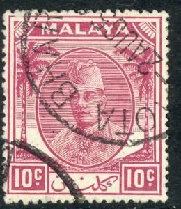 MALAYA KELANTAN 1951 10c Sultan Ibrahim Issue Scott No. 56 VFU