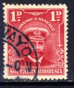 Southern Rhodesia 1924 - 29 KGV 1d Bright Rose used SG 2 ( D918 )