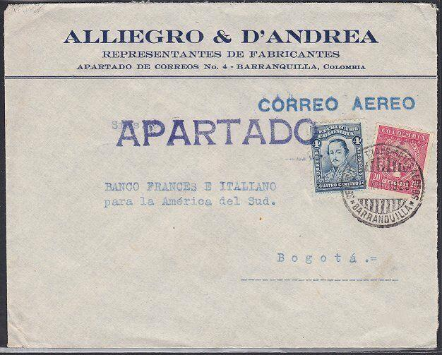 COLOMBIA 1929 Internal commercial airmail cover Barranquilla to Bogota.....53855