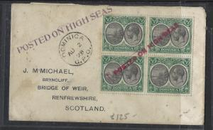 DOMINICA  (P1712B)  KGV 1928 1/2D BL OF 4 POSTED ON HIGH SEAS ST LINE RED AND VI
