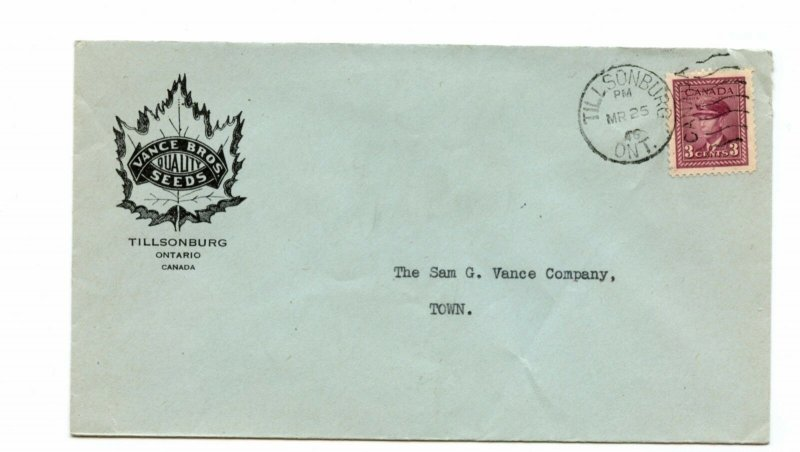 Vance Brothers Quality SEEDS 1946 duplex advertising cover Canada