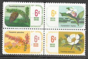 USA 1376-1379: 6c Flowers and trees, MNH, VF