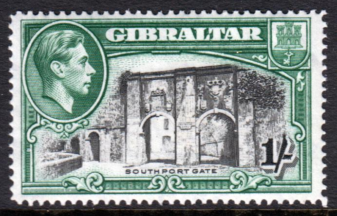 Gibraltar KGVI 1938 1/- 1s Black Green SG127 Mint Lightly Hinged