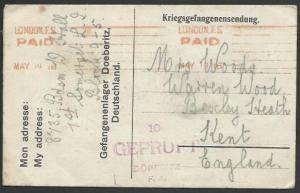 GB POW IN GERMANY 1916 POW lettersheet ex DOEBERITZ CAMP to UK.............53012