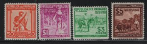 PARAGUAY, 366-369, (4)SHORT SET, HINGED, 1940, PEACE CONFERENCE TYPE