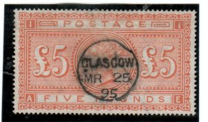 Great Britain #93 Extra Fine Used With Ideal Glasgow MR 25 1895 CDS Cancel