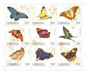 Liberia. 1996. Small sheet 1660-8. Butterflies fauna. MNH.