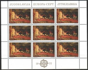 Yugoslavia. 1977. Small sheet 1684. Painting, Europe-sept. MNH.