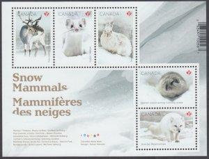 Canada - *NEW* Snow Mammals Souvenir Sheet  - MNH