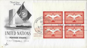United Nations, New York #C1, 6c Air Mail, Art Craft, inscription block of 4