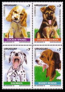 Uruguay Dogs Corner Block of 4 SG#2557-2560