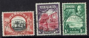 BERMUDA 1936 KGV PICTORIAL 3D 6D AND 1/- USED