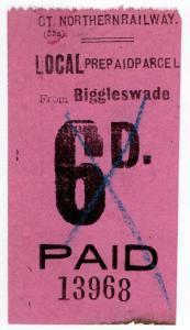 (I.B) Great Northern Railway : Local Prepaid Parcel 6d (Biggleswade)