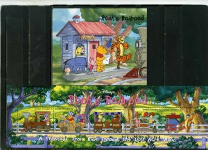 GRENADA GRENADINES 1998 DISNEY CHRISTMAS/POOH'S TRAIN SHEET OF 5 STAMPS S/S MNH