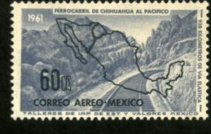 MEXICO C258, 60c OPENING Chihuahua-Pacific Railroad. MINT, NH. VF.
