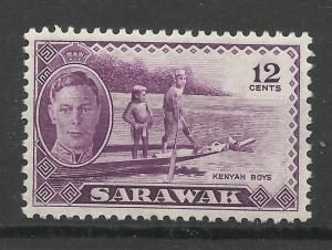 Sarawak 1950 Sg 178, 12c Violet, Lightly Mounted Mint [1438]