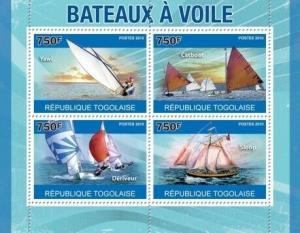 Togo - Sailing Ships - 4 Stamp  Sheet 20H-152