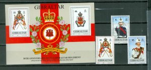 GIBRALTAR REGIMENTS #545-548 SET & SOUV. SHEET...MNH...$7.00